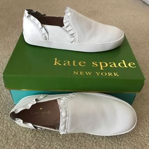 $98 Kate Spade White Leather Platform Sneakers 8